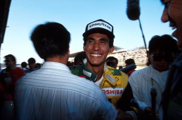 A very happy Aguri Suzuki after his 3rd place at his home GP Japanese GP - Suzuka, Japan, 21 October 1990