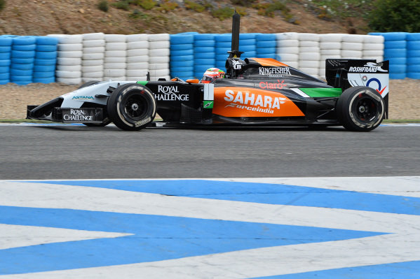 Sergio Perez (MEX) Force India VJM07. Formula One Testing, Jerez, Spain, Day Two, Wednesday 29 January 2014.