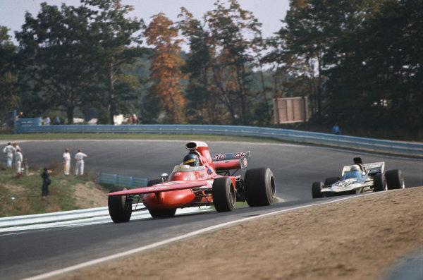1971 United States Grand Prix.  Watkins Glen, New York, USA. 1st-3rd October 1971.  Ronnie Peterson, March 711 Ford, 3rd position, leads Mike Hailwood, Surtees TS9A Ford, 15th position, out of The Loop.  Ref: 71USA24. World Copyright: LAT Photographic