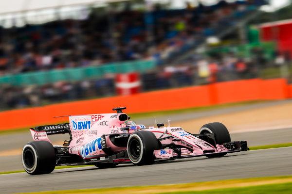 Silverstone, Northamptonshire, UK.  Friday 14 July 2017. Sergio Perez, Force India VJM10 Mercedes. World Copyright: Glenn Dunbar/LAT Images  ref: Digital Image _X4I3440