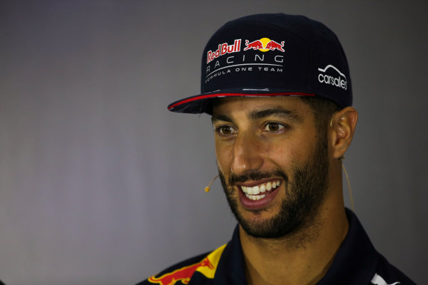 Silverstone, Northamptonshire, UK.  Thursday 13 July 2017. Daniel Ricciardo, Red Bull Racing, in the Thursday press conference. World Copyright: Charles Coates/LAT Images  ref: Digital Image DJ5R0864