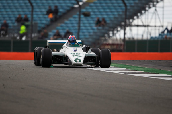 Silverstone, Northamptonshire, UK.  Saturday 15 July 2017. Paul di Resta drives a 1982 Williams FW08B Cosworth 6 wheeled F1 car in a parade as part of the Williams 40th Anniversary celebrations. World Copyright: Dom Romney/LAT Images  ref: Digital Image GT2R3232