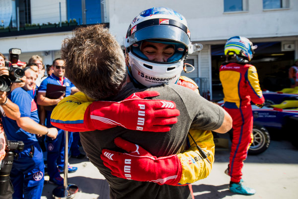 2017 GP3 Series Round 4.  Hungaroring, Budapest, Hungary. Sunday 30 July 2017. Giuliano Alesi (FRA, Trident), with father, Jean Alesi. Photo: Zak Mauger/GP3 Series Media Service. ref: Digital Image _56I4125