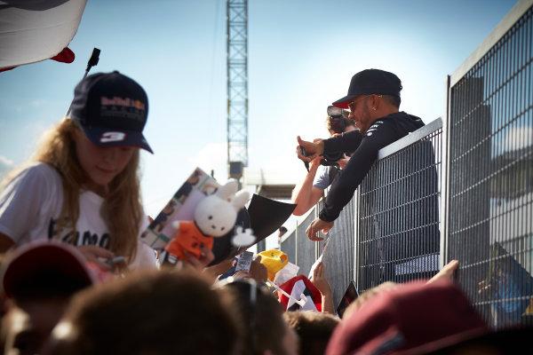 Hungaroring, Budapest, Hungary.  Thursday 27 July 2017. Lewis Hamilton, Mercedes AMG, meets some fans. World Copyright: Steve Etherington/LAT Images  ref: Digital Image SNE11421