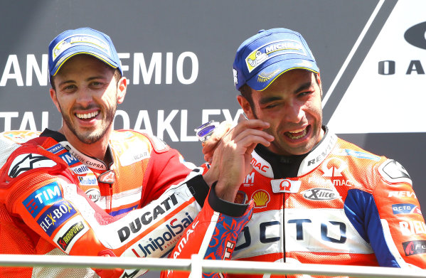 2017 MotoGP Championship - Round 6 Mugello, Italy Sunday 4 June 2017 Podium: Race winner Andrea Dovizioso, Ducati Team, hird place Danilo Petrucci, Pramac Racing World Copyright: Gold & Goose Photography/LAT Images ref: Digital Image 674658