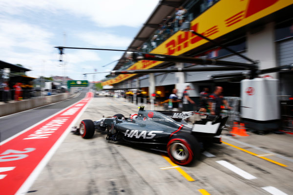 Red Bull Ring, Spielberg, Austria. Saturday 08 July 2017. Kevin Magnussen, Haas VF-17 Ferrari, leaves his pit garage. World Copyright: Andy Hone/LAT Images ref: Digital Image _ONZ9949