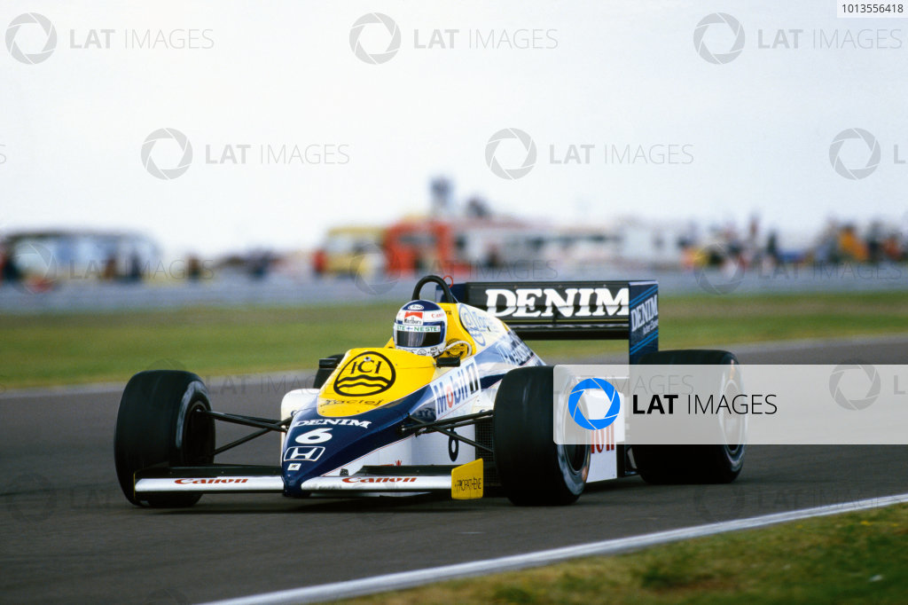 Silverstone, England. 19 - 21 July 1985.Keke Rosberg (Williams FW10 Honda) who's pole position time was the fastest ever qualifying lap, action. World Copyright: LAT PhotographicRef: 85GB