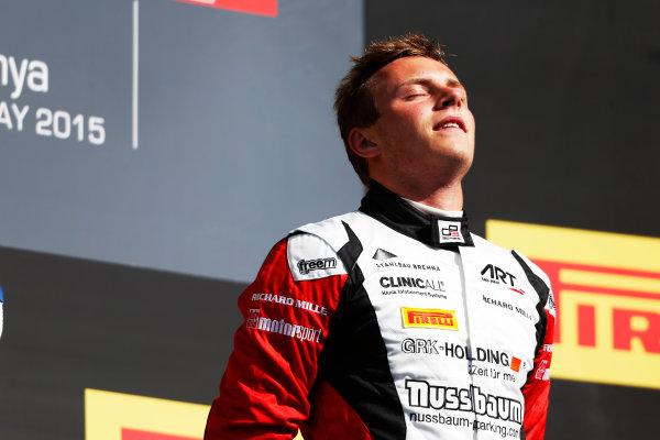 2015 GP3 Series Round 1. Circuit de Catalunya, Barcelona, Spain. Sunday 10 May 2015. Podium. Marvin Kirchhofer (GER, ART Grand Prix). Photo: Zak Mauger/GP3 Series Media Service. ref: Digital Image _L0U5361