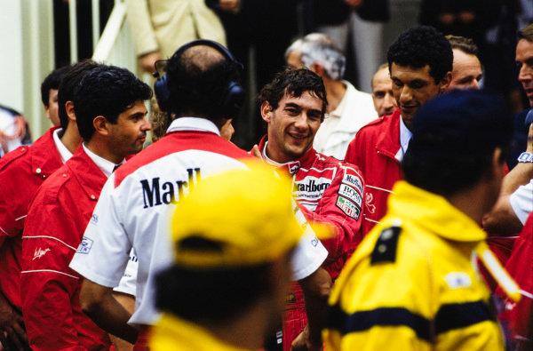 Ayrton Senna celebrates his 5th victory on the streets of Monaco.