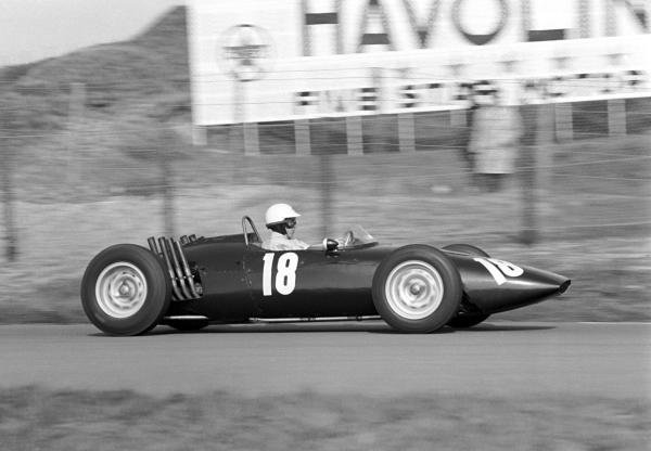 Richie Ginther (USA) BRM P48/57 was an official retiree after colliding with another driver late in the race. Dutch Grand Prix, Zandvoort, 20 May 1962.