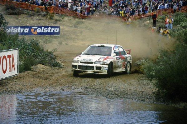 1995 World Rally Championship.Australian Rally, Australia. 15-18 September 1995.Kenneth Eriksson/Staffan Parmander (Mitsubishi Lancer Evo3), 1st position.World Copyright: LAT PhotographicRef: 35mm transparency 95RALLY06