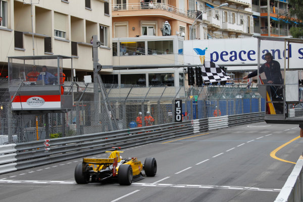 Monte Carlo, Monaco. 15th May 2010. Saturday Race.Jerome D'Ambrosio (BEL, Dams) crosses the line to take victory. Action. Photo: Andrew Ferraro/GP2 Media Service.Ref: _Q0C7561 jpg