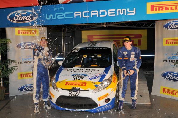 Elfyn Evans (GBR) and Phil Pugh (GBR) celebrate winning the 2012 FIA Academy championship. FIA World Rally Championship, Rd11, Rallye De France, Strasbourg, Alsace, France, Day Two, Saturday 6 October 2012.