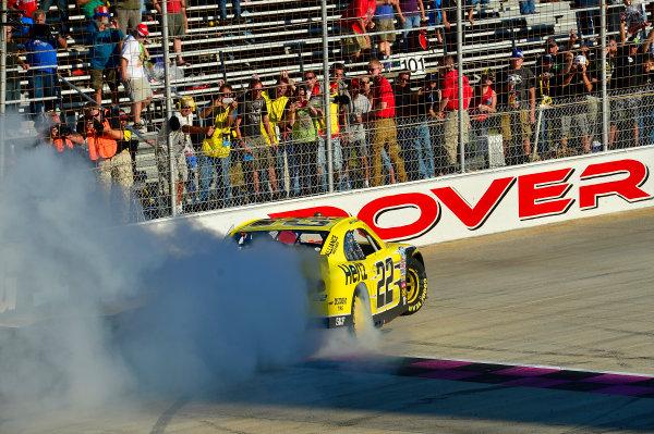 September 27-28, 2013, Dover, Delaware USA Joey Logano does his Victory Burnout © 2013, Brian Czobat LAT Photo USA
