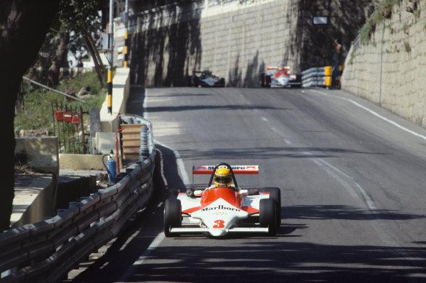 1983 Macau Grand Prix. Circult de Guia, Macau. 17th - 20th November 1983. 30th F3 Race. Ayrton Senna (Ralt RT3-Toyota), 1st position, action. World Copyright: LAT Photographic. Ref: Colour Transparency.