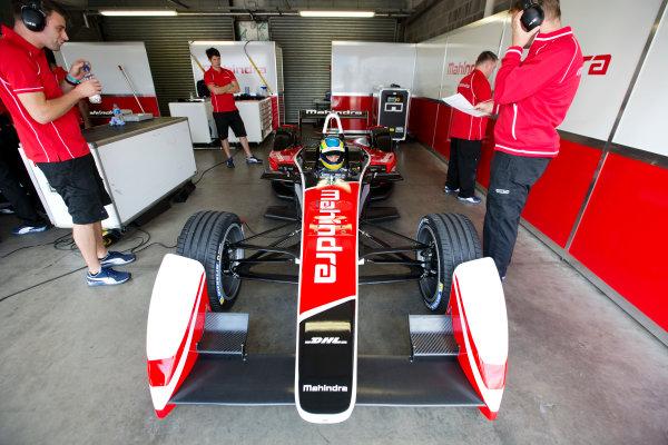 FIA Formula E Test Day, Donington Park, UK.  3rd - 4th July 2014.  Bruno Senna, Mahindra Racing. Photo: Malcolm Griffiths/FIA Formula E ref: Digital Image A50A2910