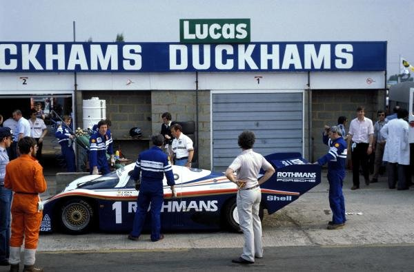 The Rothmans Porsche 956 of Jacky Ickx (BEL) and Derek Bell (GBR) makes a pitstop on the way to a 2nd place finish.World Sports Prototype Championship, Rd2, Silverstone 6 Hours, England, 16 May 1982.