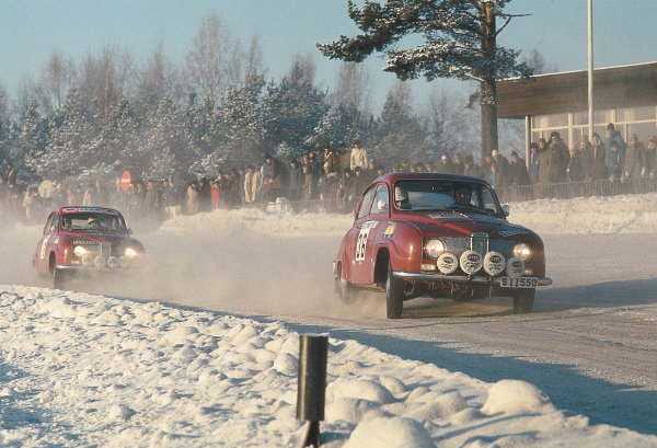 1968 European Rally Championship. Swedish Rally, Sweden. 4-7 January 1968. Jerry Larson (Saab). World Copyright: LAT Photographic. Ref: Colour Transparency.