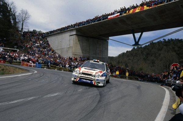 1998 World Rally Championship.Catalunya Rally, Spain. 20-22 April 1998.Didier Auriol/Denis Giraudet (Toyota Corolla WRC), 1st position.World Copyright: LAT PhotographicRef: 35mm transparency 98RALLY04