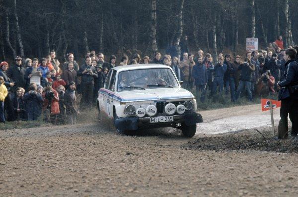 1973 World Rally Championship.RAC Rally, Great Britain. 17-21 November 1973.Bjorn Waldegaard/Hans Thorszelius (BMW 2002), 7th position.World Copyright: LAT PhotographicRef: 35mm transparency 73RALLY10