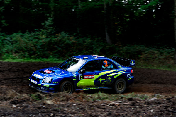 2004 FIA World Rally Champs. Round twelve, Wales Rally GB.16th- 19th September 2004.Subaru driver Mikko Hirvonen in action in the Impreza WRC04 during pre-event shakedown, Wales Rally GB 2004.
