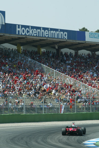 2003 German Grand Prix - Sunday Race, Hockenheim, Germany.3rd August 2003.Michael Schumacher, Ferrari F2003 GA, action.World Copyright LAT Photographic.Digital Image Only.