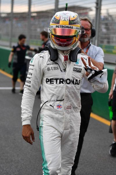 Pole sitter Lewis Hamilton (GBR) Mercedes AMG F1 celebrates in parc ferme at Formula One World Championship, Rd1, Australian Grand Prix, Qualifying, Albert Park, Melbourne, Australia, Saturday 25 March 2017.