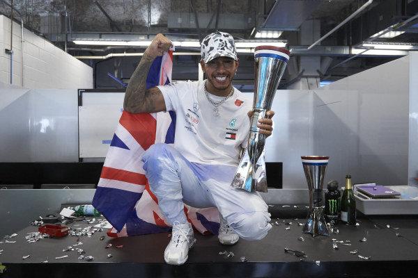 Lewis Hamilton, Mercedes AMG F1, celebrates winning his sixth Formula 1 drivers' world championship