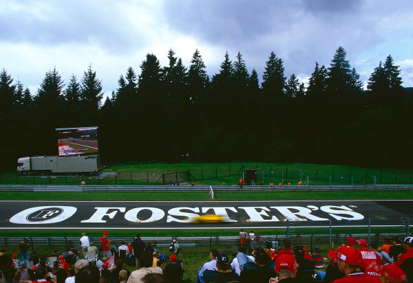 2002 Belgian Grand Prix.Spa-Francorchamps, Belgium. 30/8-1/9 2002.This Fosters advertisement that adorned the track, was not liked by the drivers and was promptly removed before the race.Ref-02 BEL 10.World Copyright - PICME/LAT Photographic