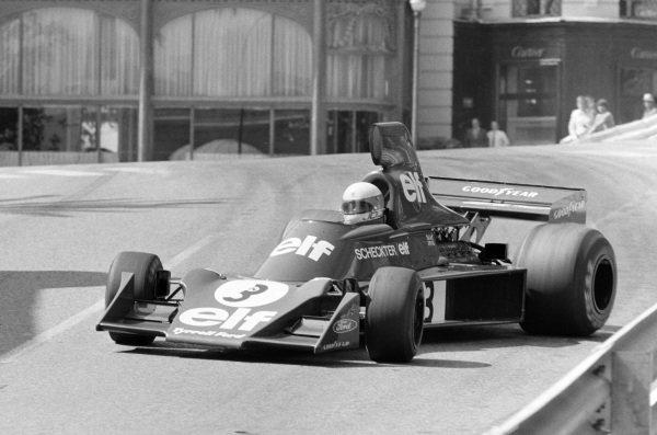 Jody Scheckter, Tyrrell 007 Ford, gets very sideways through Casino Square.