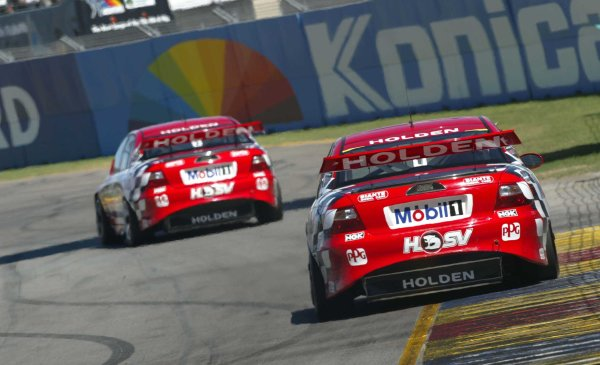 2002 Australian V8 SupercarsAdelaide Clipsal 500. Australia. 17th March 2002HRT's Jason Bright leads team mate Mark Skaife, last years series champion for 72 laps unit hitting the wall on the exit of turn nine which put an end to his race.World Copyright: Mark Horsburgh/LAT Photographicref: Digital Image Only