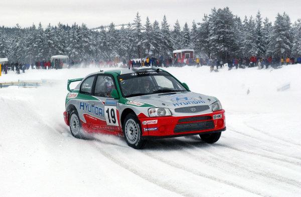 2002 World Rally ChampionshipUddeholm Swedish Rally, 1st-3rd February 2002.Juha Kankkunen stage 3.Photo: Ralph Hardwick/LAT