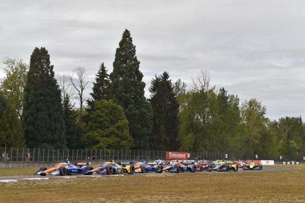 #10: Alex Palou, Chip Ganassi Racing Honda, #27: Alexander Rossi, Andretti Autosport Honda, #9: Scott Dixon, Chip Ganassi Racing Honda, #7: Felix Rosenqvist, Arrow McLaren SP Chevrolet