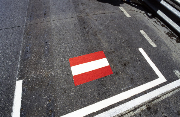The Austrian flag painted on the grid as a mark of respect for Roland Ratzenberger, who lost his life at the previous race.