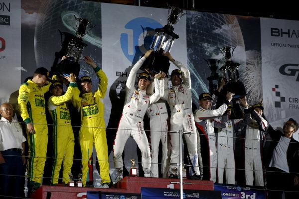 Podium: Race winner #25 Audi Sport Team WRT Audi R8 LMS GT3 Evo: Dries Vanthoor, Kelvin van der Linde, Frédéric Vervisch, second place #999 Mercedes-AMG Team GruppeM Racing Mercedes-AMG GT3: Maximilian Buhk, Raffaele Marciello, Maro Engel, third place #912 Absolute Racing  Porsche 911 GT3 R: Dirk Werner, Dennis Olsen, Matt Campbell.
