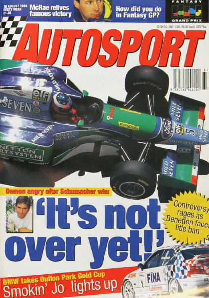 Cover of Autosport magazine, 18th August 1994