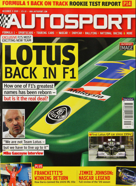 Cover of Autosport magazine, 3rd December 2009