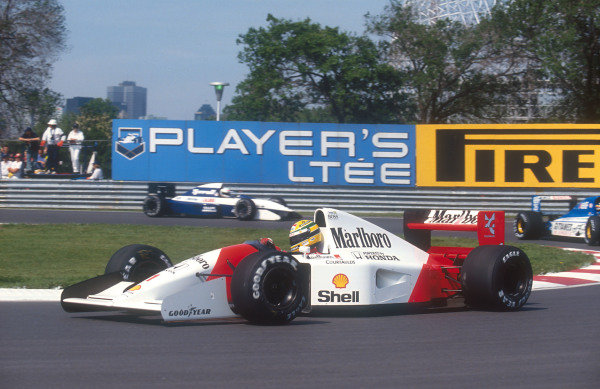 1992 Canadian Grand Prix.Montreal, Quebec, Canada.12-14 June 1992.Ayrton Senna (McLaren MP4/7A Honda). He exited the race after his engine cut out due to an electronics failure.Ref-92 CAN 10.World Copyright - LAT Photographic