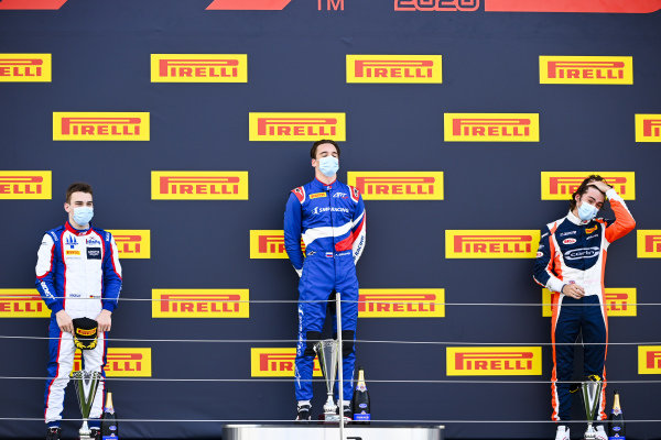 David BECKMAN (DEU, TRIDENT MOTORSPORT), race Winner Alexander Smolvar (RUS, ART GRAND PRIX) and Clement Novalak (GBR, CARLIN BUZZ RACING) on the podium