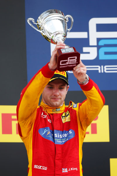 Jordan King (GBR, Racing Engineering lifts his trophy after finishing second 2016 GP2 Series Round 6 Hungaroring, Budapest, Hungary Sunday 24 July 2016  Photo: /GP2 Series Media Service ref: Digital Image _W2Q7478