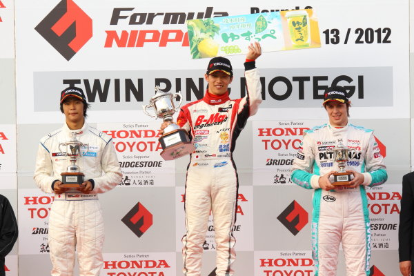 Twin Ring Motegi, Motegi, Japan12th - 13th May 2012. Rd 3.Winner Hideki Yamauchi ( #1 B-MAX ENGINEERING )  2nd positiion Ryo Hirakawa ( #4 RSS ) 3rd position Richard Bradley ( #37 PETRONAS TEAM TOM'S ) podiumWorld Copyright: Yasushi Ishihara/LAT Photographic.Ref:  2012JF3_R3&4_006