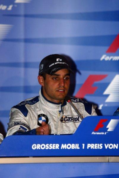 Race winner Juan Pablo Montoya (COL) Williams in the press conference.Formula One World Championship, Rd12, German Grand Prix, Race Day, Hockenheim, Germany, 3 August 2003.DIGITAL IMAGE