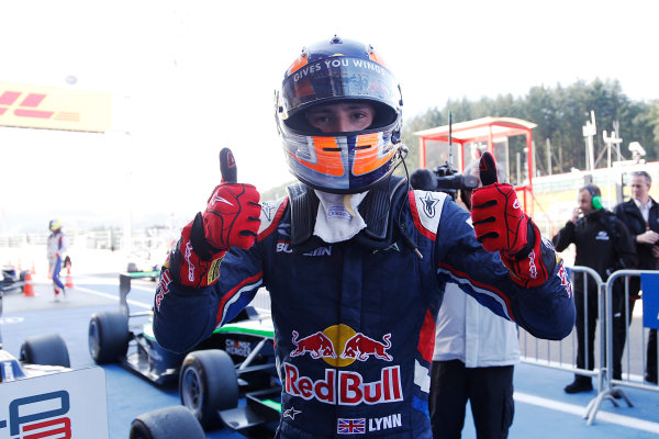 2014 GP3 Series Round 6.  Spa-Francorchamps, Spa, Belgium. Sunday 24 August 2014.  Alex Lynn (GBR, Carlin) celebrates his win in Parc Ferme. Photo: Jed Leicester/GP3 Series Media Service. ref: Digital Image _ED_2871