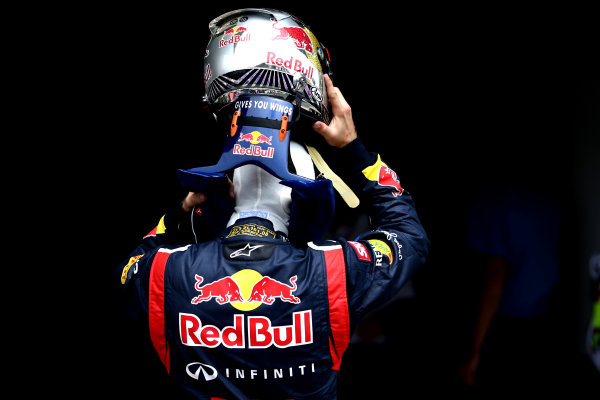 Interlagos, Sao Paulo, Brazil. Saturday 24th November 2012. Sebastian Vettel, Red Bull Racing, removes his helmet in Parc Ferme. World Copyright: Andy Hone/LAT Photographic ref: Digital Image HONZ2432