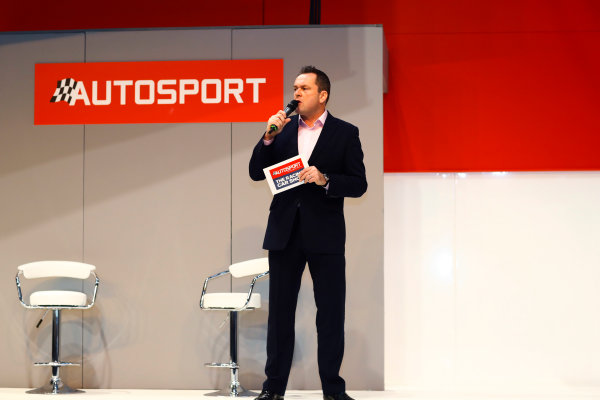 Autosport International Exhibition. National Exhibition Centre, Birmingham, UK. Thursday 11th January 2017. Henry Hope-Frost on the Autosport Stage.World Copyright: Ashleigh Hartwell/LAT Images Ref: _R3I6571