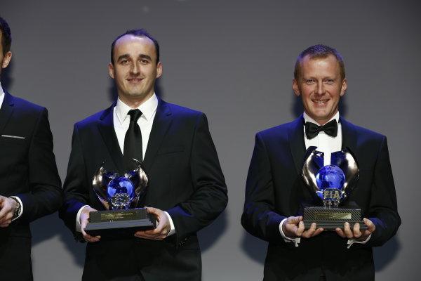 2013 FIA Gala Dinner and Awards. Paris, France. Friday 6th December 2013. WRC2 champions Robert Kubica and Maciek Baran. World Copyright & Mandatory Credit: FIA. ref: Digital Image 11243100635_f699757ab3_o