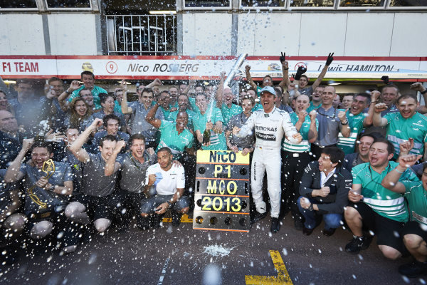 o 26th May 2013. Nico Rosberg and the Mercedes team celebrate victory. World Copyright: Steve Etherington/c ref: Digital Image SNE23919 copy