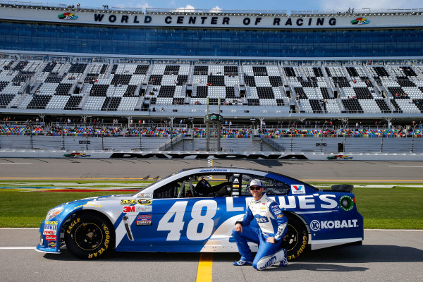 13-21 February, 2016, Daytona Beach, Florida USA   Jimmie Johnson, driver of the #48 Lowe's Chevrolet, poses with his car after qualifying for the NASCAR Sprint Cup Series Daytona 500 at Daytona International Speedway on February 14, 2016 in Daytona Beach, Florida.   LAT Photo USA via NASCAR via Getty Images