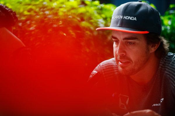Sepang International Circuit, Sepang, Malaysia. Thursday 28 September 2017. Fernando Alonso, McLaren.  World Copyright: Andy Hone/LAT Images  ref: Digital Image _ONZ8762