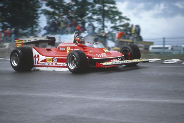 Watkins Glen, New York State, USA. 5 - 7 October 1979.Gilles Villeneuve (Ferrari 312T4) 1st position, action.World Copyright: Bill Murenbeeld/LAT Photographic.Ref: 79USA17